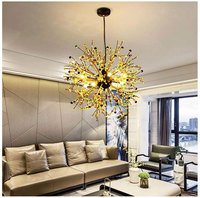 Pendant Lights Firework LED Stainless Steel Crystal Pendant Lighting For Living room bar Art Modern led lamps decoration