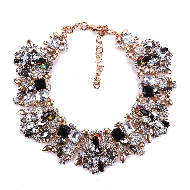 2020 Vintage Statement Crystal Round Necklace Colorful Glass Collar Choker Maxi Necklace for Women Wedding Fashion Accessories