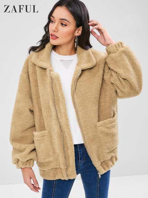 Ladies Outerwear Warm 72zaful Jackets Fluffy Cardigan Coat Jacket Winter Us46 Long Up Women Cotton Zip Arrival In 2019 Sleeve L4A5jq3R