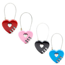 1pcs Heart Shaped Padlock 3 Dial Digit Password Lock Luggage Password Padlock Double Mood Love Lock Travel Gift 4 Colors(China)