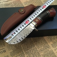 Damascus Steel survival knife 100% Handmade Genuine fixed blade Hunting knife ebony handle first layer packing