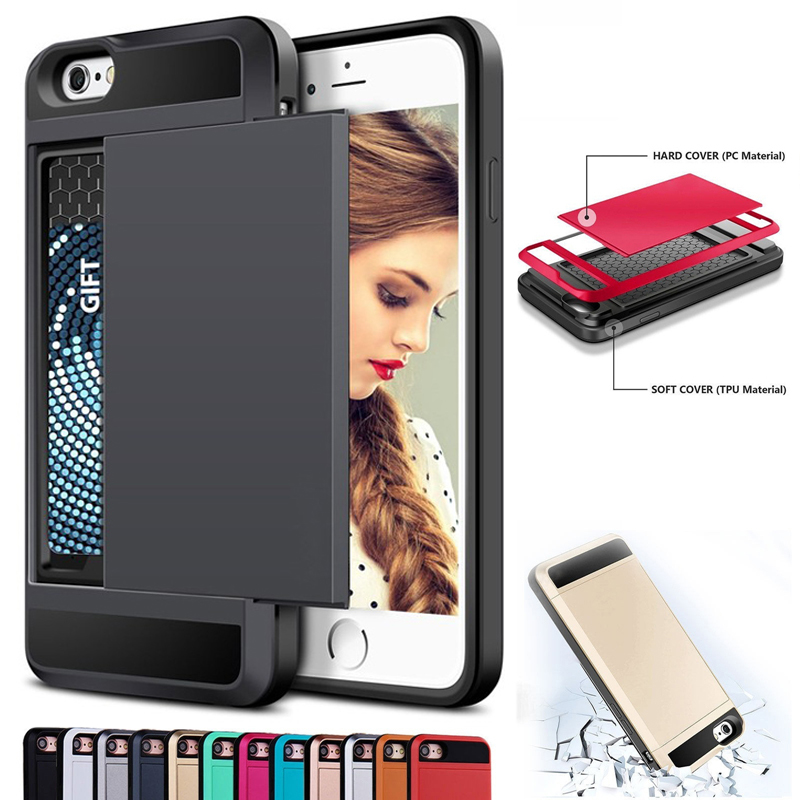 Luxury Hybrid Tough Card Storage <font><b>Armor</b></font> Cover Phone <font><b>Cases</b></font> <font><b>For</b></font> <font><b>iPhone</b></font> X XR XS MAX <font><b>4</b></font> 4S 5 5S SE 6 6S 7 8 Plus Back Protect Funda image