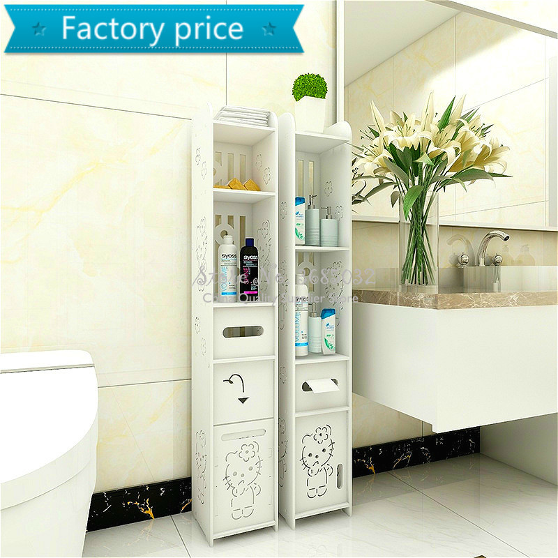 80cm Toilet Side Cabinet DIY Floor Bathroom Vanity Side Storage Cabinet Towel Box Toilet  Storage Shelf Bathroom Furniture