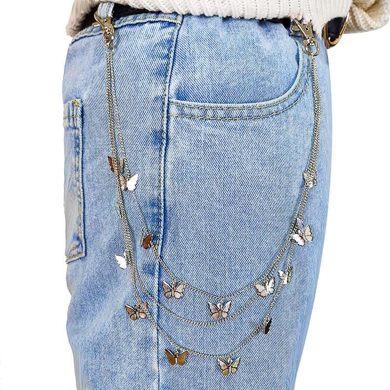 PUNK Street ผีเสื้อเข็มขัดเอวชายกางเกงผู้หญิงโซ่ชั้น HIPHOP Hook กางเกงพวงกุญแจเครื่องประดับ