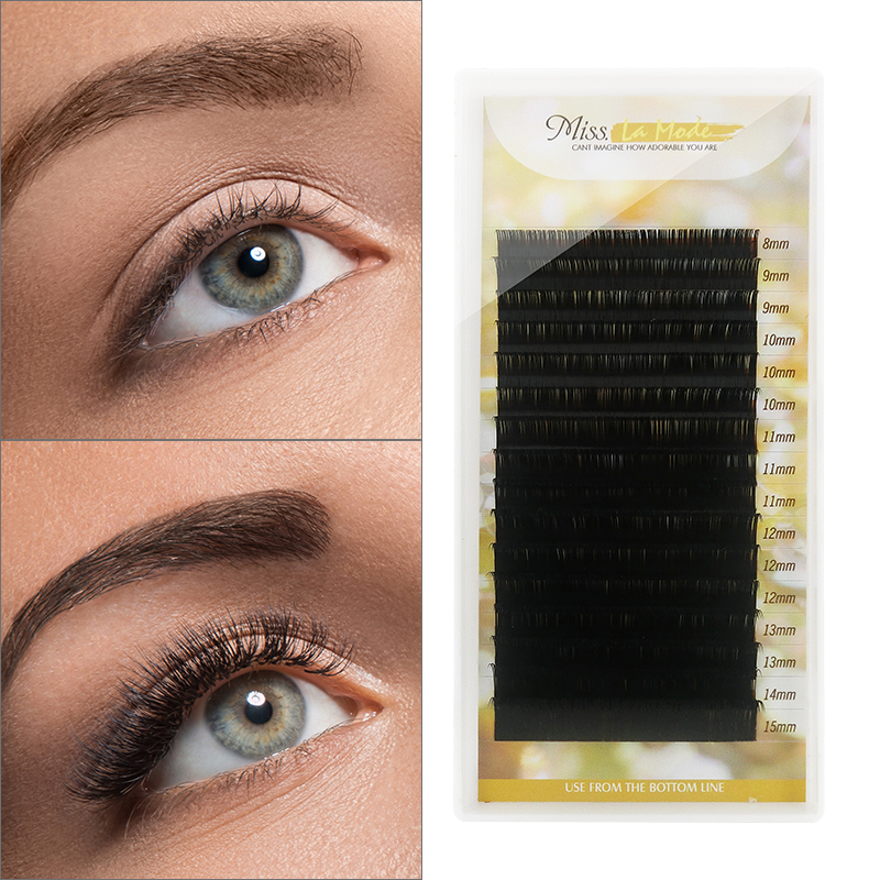 Misslamode All Size Mink Eyelashes 16rows 8-15mm Mix Individual Eyelashes Russian Volume Eyelashes Extension Supplies