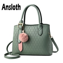 Ansloth Hairball Handle Bag Women Simple Handbag Large Capacity Shoulder Lady PU Leather Female Crossbody HPS673