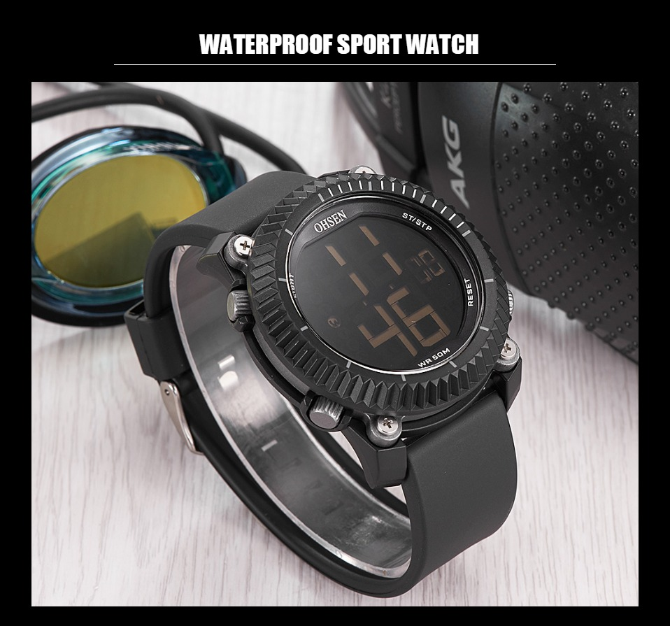 IsMyStore: OHSEN Mens Sports Watches Dive 50M Digital LED Military Watch Men Fashion Yellow Electronics Wristwatch relogios masculino