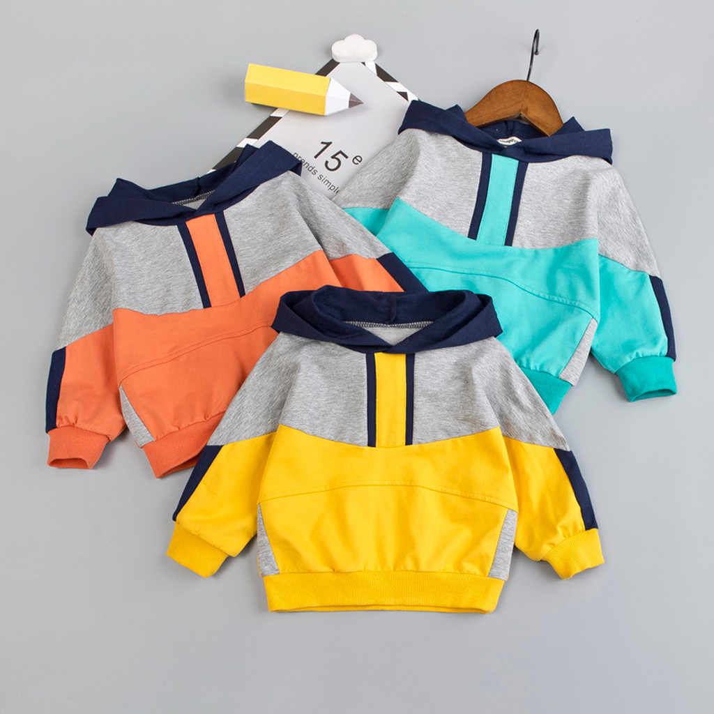 Baby Boy Girl Clothes Toddler Baby Kids Girls Hoodies Teen Sweatshirt Patchwork Kids Baby Hoodie For Boys Winter Clothes Boy