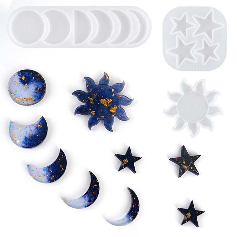 Moon Sun Star Resin Casting Mold Moon Phase Pendant Home Decor Crescent Moon Full Moon Epoxy Craft Mould DIY Making Tools