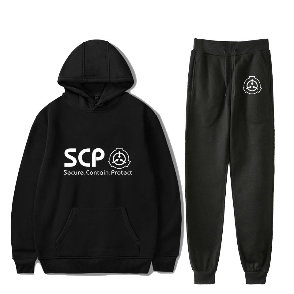 Hot Sales New Style SCP Foundation Fashion Casual Versatile Hooded Sweater + Ankle Banded Pants Set