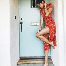 Женское платье макси с запахом красное пляжное цветочным принтом