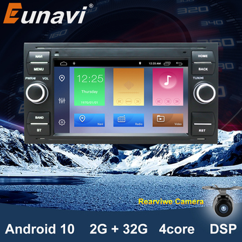 Eunavi Car Radio Multimedia Player Android 10.0 2 Din GPS Autoradio For Ford Mondeo S-max Focus C-MAX Galaxy Fiesta Form Fusion image