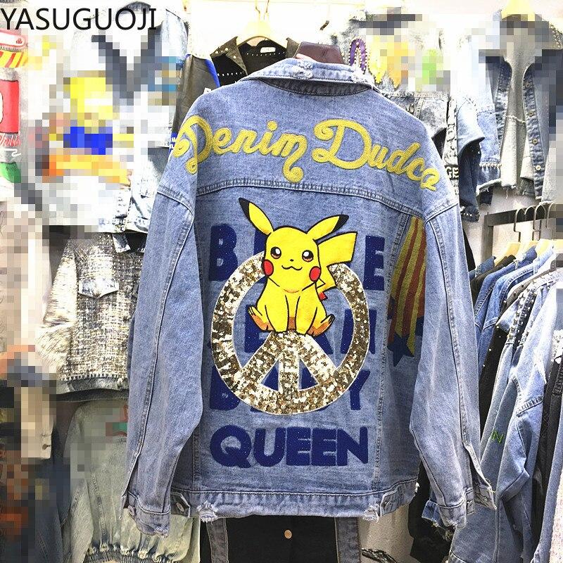 YASUGUOJI Harajuku Jackets Women Cowboy Clothes Coat Cartoon Pikachu Embroidered Denim Jacket Female Cropped Jacket Streetwear