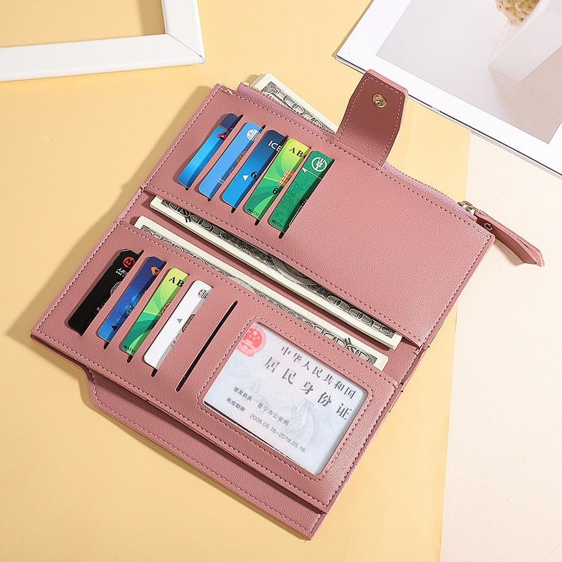 Модный женский кошелек из мягкой искусственной кожи на молнии длинный женский кошелек-клатч дизайнерский Кошелек для монет и карт черный