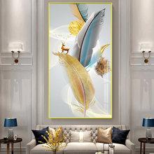 Скандинавская абстрактная картина золотого оленя красочные перья