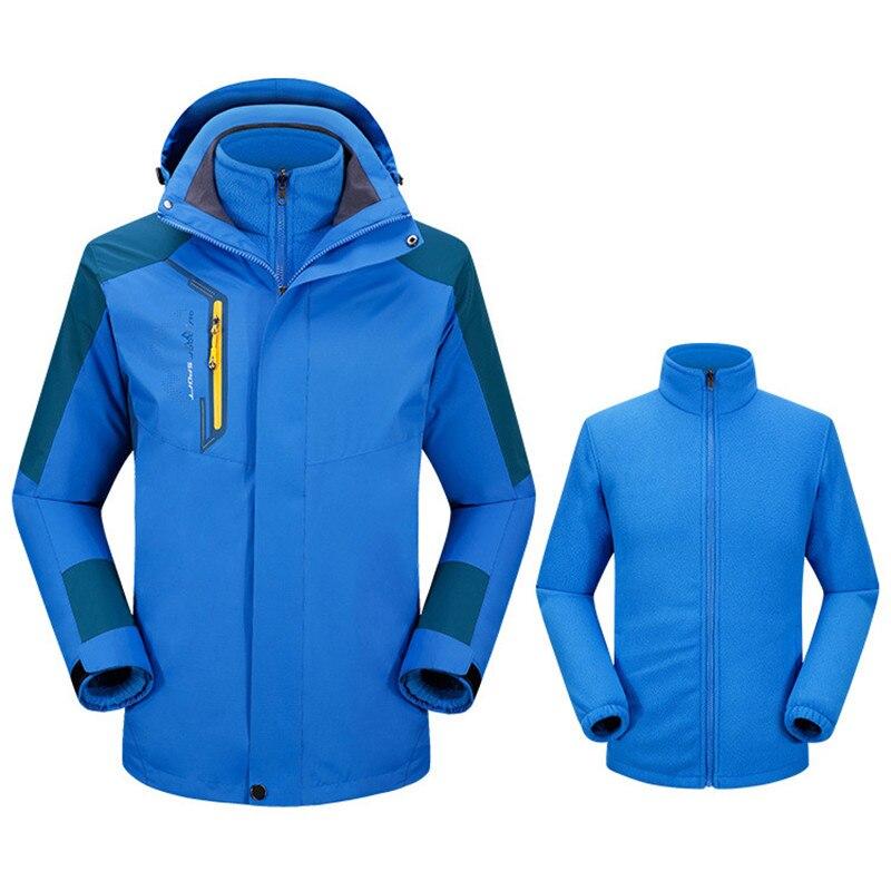 Interno dos Homens Esporte ao ar Cabolsa de Esqui 3 em 1 Inverno Velo Impermeável Snowboard Jaqueta Livre Quente Caminhadas Acampamento Trekking Jaquetas