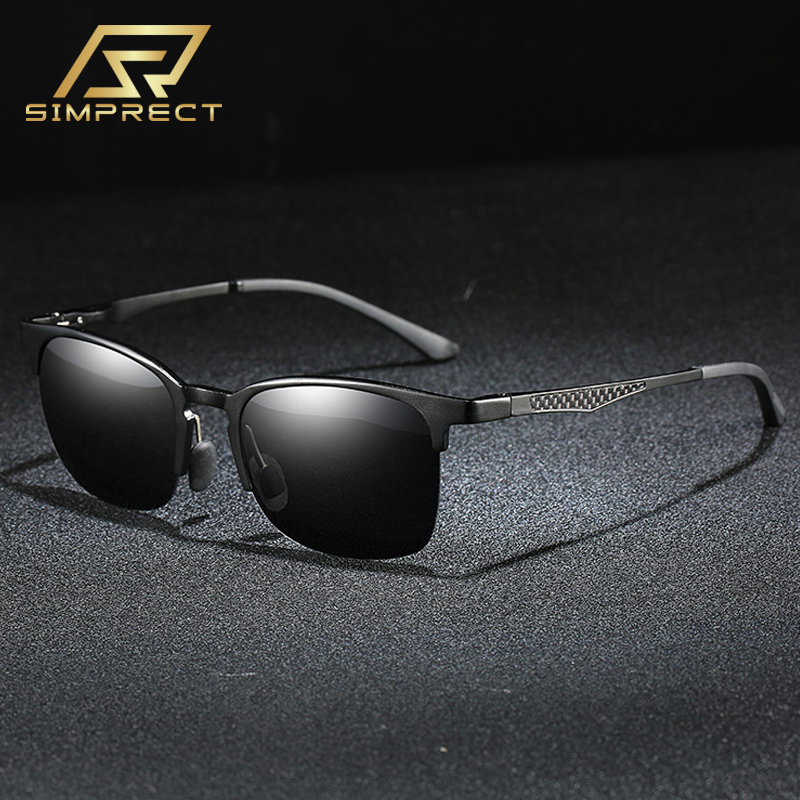 SIMPRECT 2020 Aluminum-Magnesium Polarized Sunglasses Men Carbon Fiber Square Sunglasses Driver's Anti-glare Sun Glasses For Men