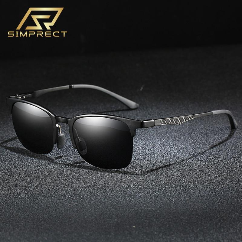SIMPRECT 2020 Aluminum-Magnesium Polarized Sunglasses Men Carbon Fiber Square Sunglasses Driver's Anti-glare Sun Glasses For Men