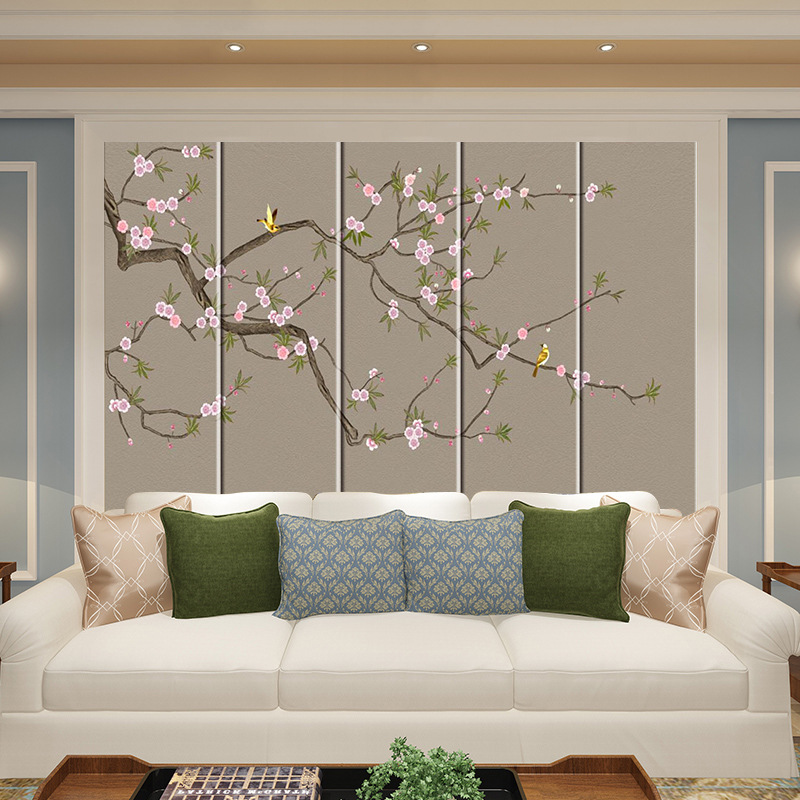 Plum Soft Background Wall Bedside Hard Chinese Style Flowers And Birds Living Room Bedroom Sofa Television Chinese Style Flowers