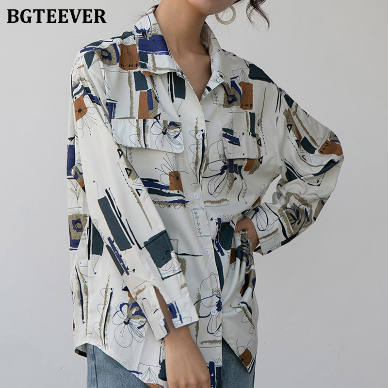 BGTEEVER Elegant Graffiti Print Oversized Women Blouses Korean Full Sleeve Female Shirts Tops 2020 Spring Summer Blusas Femme