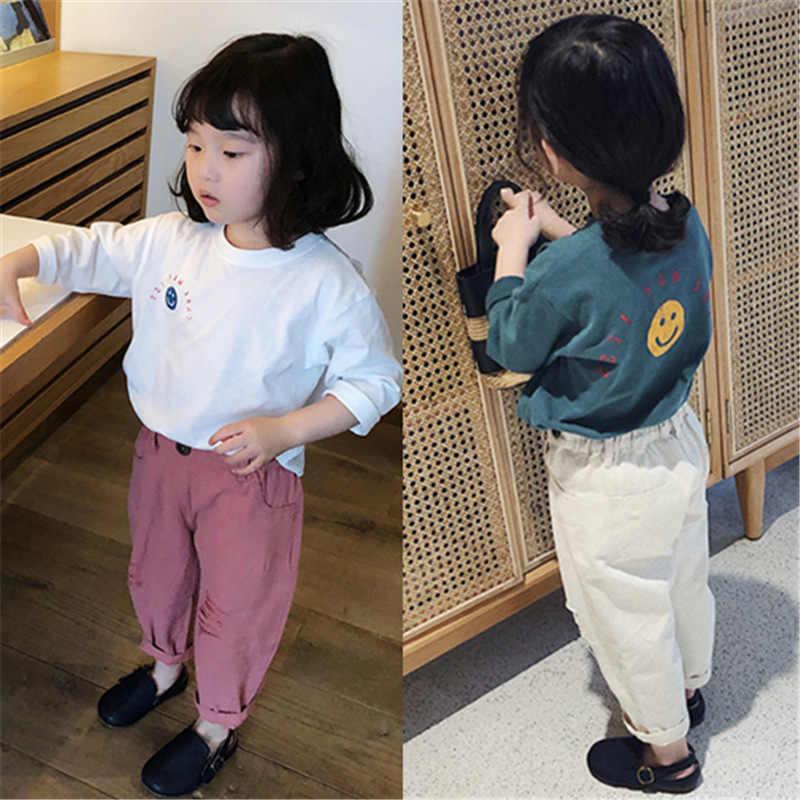 WLG dziewczyna t shirt dla dzieci wiosna jesień uśmiech list wydrukowano biały niebieski t-shirt dla dzieci odzież codzienna