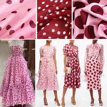 New Polka Dot Printed Polyester Fabric Cloth 145 cm Width Pants Shirt Camisole Dress Lining Chiffon Fabric