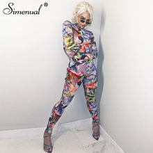 Simenual Athleisure Tie Dye Sporty Casual Jumpsuits Women Long Sleeve Fashion Workout Skinny Rompers Print Bodycon Slim Jumpsuit