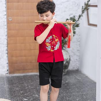 Strój Tang 2020 smok tradycyjna chińska odzież dla mężczyzn dzieci dziewczynka chłopiec odzież Kung Fu chiński topy haft tanie i dobre opinie COTTON Linen CN (pochodzenie) Chłopcy Tkane Chinese Top Top Pants