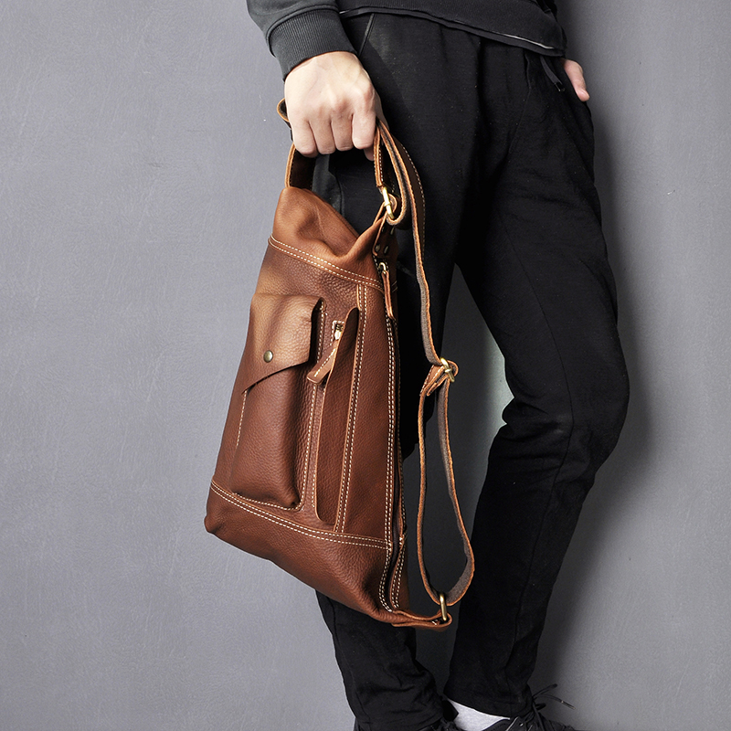 Men Original Crazy Horse Leather Casual Fashion Crossbody Chest Sling Bag Design Travel One Shoulder Bag Daypack Male 2329
