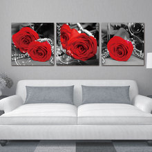 Romantic Red Roses Wall art painting print picture On canvas Pictures for bedroom living room a gift choice