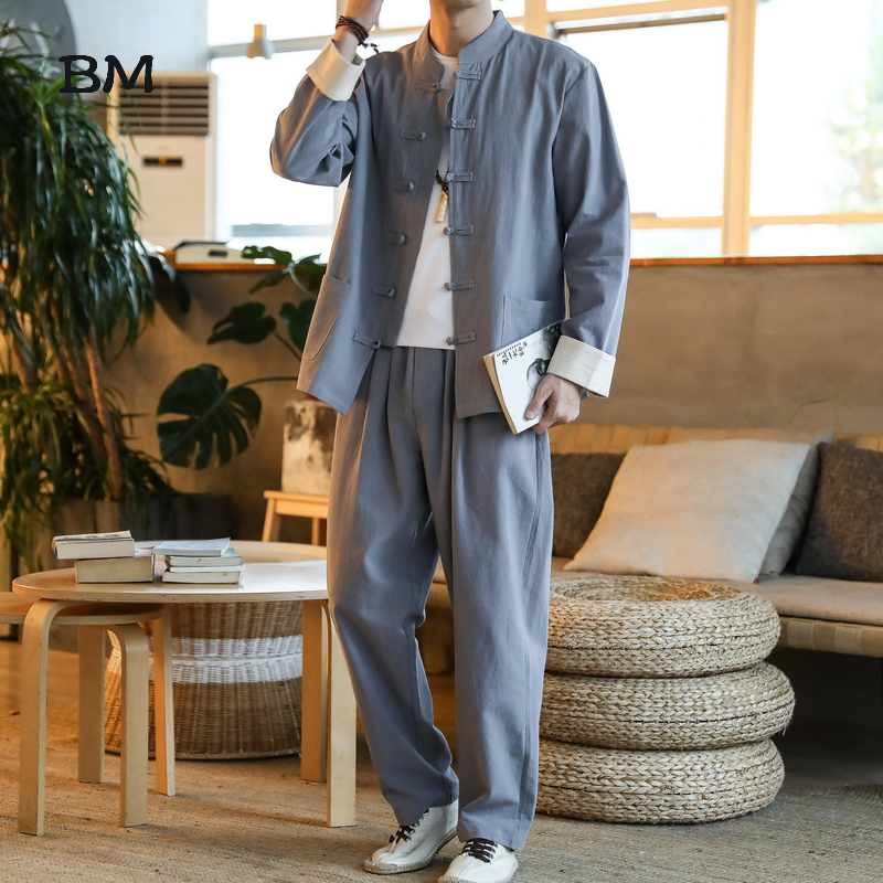 Chinese Style Linen Suit Ancient Style Zen Clothing Fashion Simple Hanfu Large Size Long Sleeve Top 5XL Trousers Men Clothes