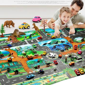 100x130cm Traffic Route Dinosaur World Pattern Safety Crawling Play Interactive Game Mat Pad Carpet Room Decor