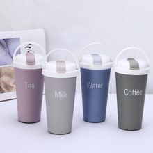 Thermos Coffee Mug With Straw Double Wall Stainless Steel Tumbler Vacuum Flask Bottle Thermo Tea Travel