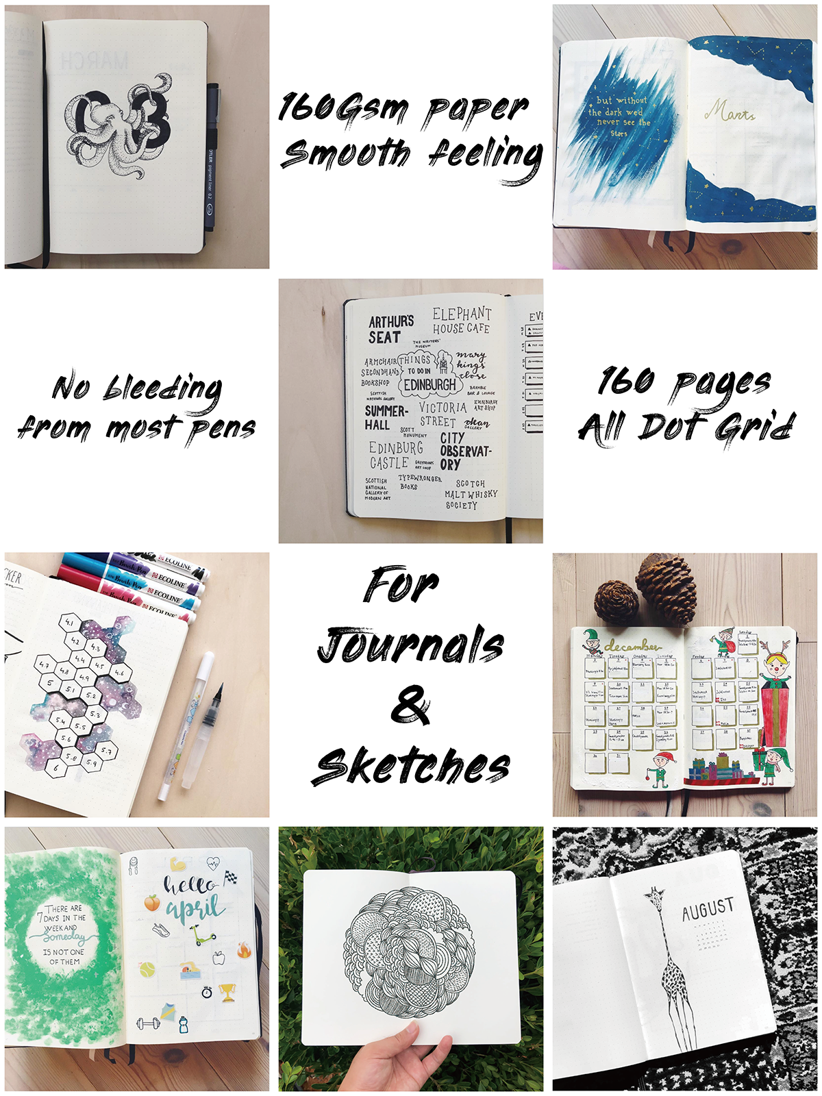 BUKE Dot Grid Notebook Dotted Watercolor Journal Sketchbook Thicken Paper 180GSM 160GSM Dotted160 Pages 5X5mm 2