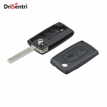 Black 2 Buttons Entry Replacement Key Remote Fob Shell Case with Uncut Car Flip for CITROEN C2 C3 New Listing