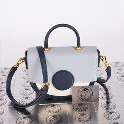 Bolso de cuero de vaca recubierto nuevo Color a juego bolso de hombro tipo alforja bolso de mensajero portátil moda medio bolso de la luna