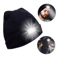 Unisex Winter Warme Gestrickte Kappe helle LED Kopf Taschenlampe Hut Im Freien Jagd Nacht Angeln Camping Helle Licht Kappe Hut