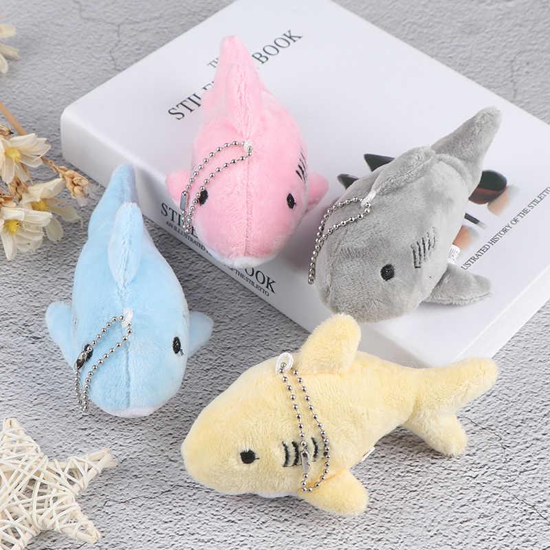 12CM doux mignon dessin animé Simulation requin en peluche porte-clés pendentif jouets baleine en peluche poupée sac à dos porte-clés sac pendentif enfants cadeaux