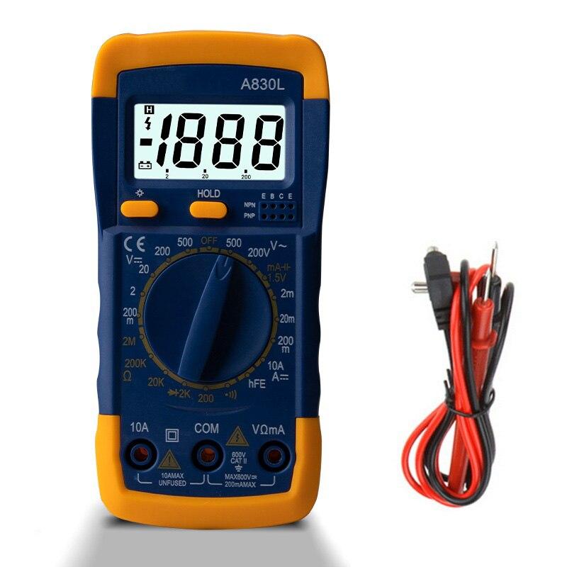 1 шт. A830L ЖК-дисплей Цифровой мультиметр постоянного тока Напряжение диод Freguency Multitester прибор для измерения тока световой Дисплей с зуммером ...