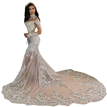 Luxury Mermaid Wedding Dresses 2020 High Neck Long Sleeves Long Train Lace Appliques Crystal Major Beading Bridal Gowns Custom burgundy lace details crew neck long sleeves high waisted dresses
