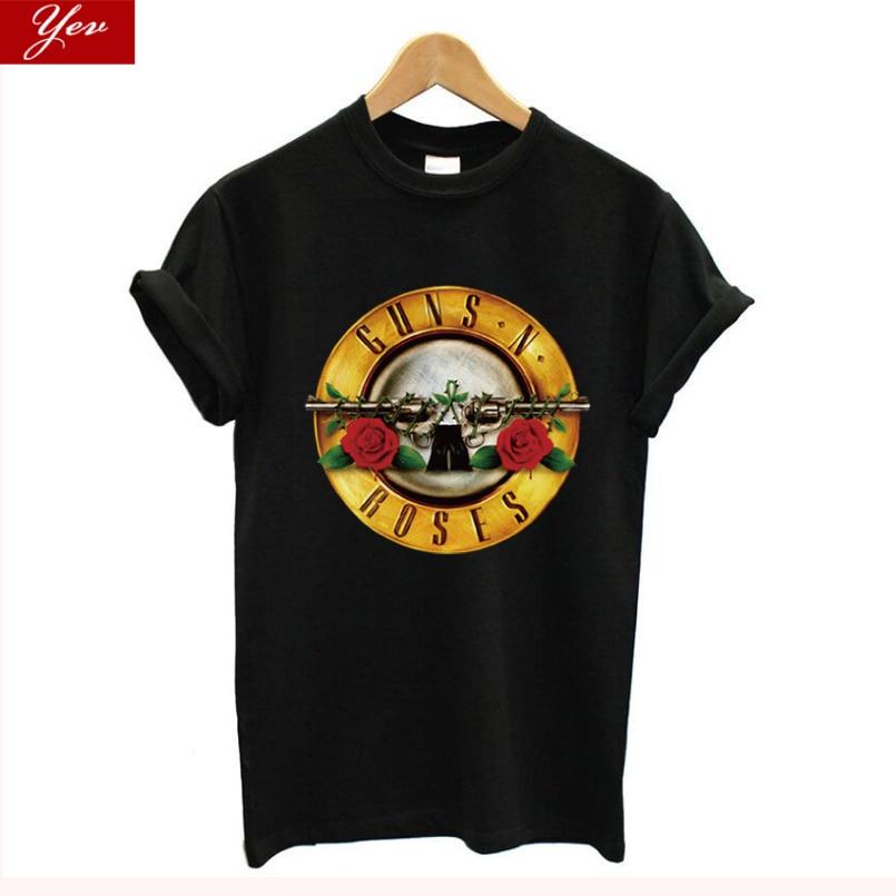 2020 Rock Wear GUNS And Roses T-shirts Women Summer 100%Cotton Rock Band Streetwear Women T Shirt Guns Roses Tee Shirt Homme