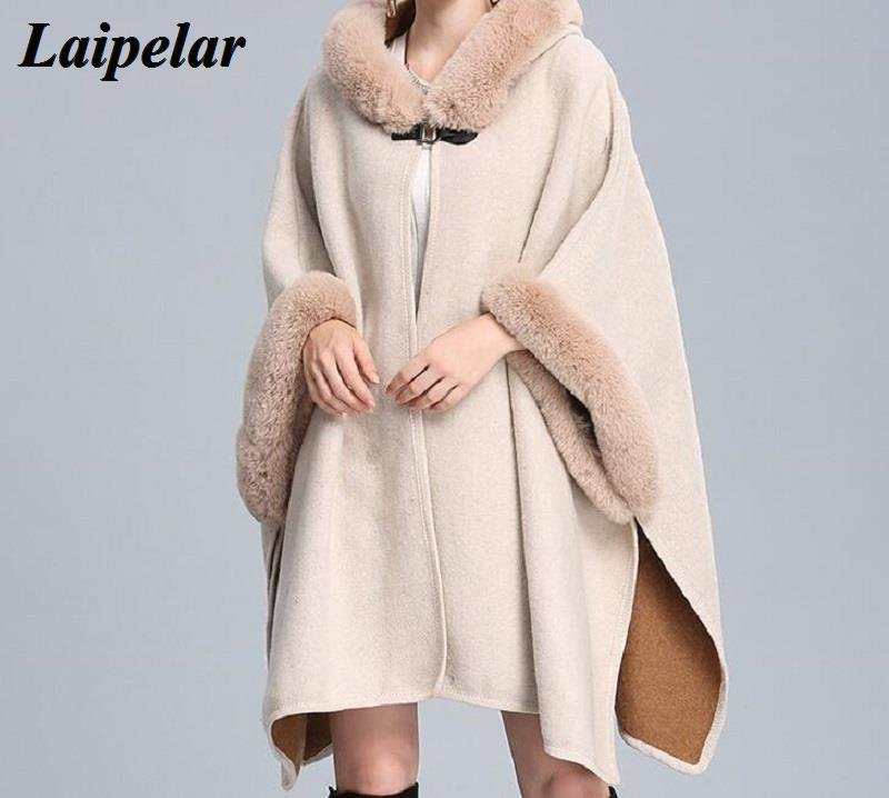 Laipelar Europe And The United States Autumn And Winter New Hooded Imitation Rabbit Fur Collar Wool Cloak Shawl Loose