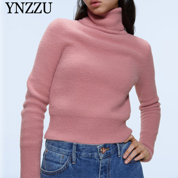 Women Soft Turtleneck sweater 2019 Autumn Winter Slim casual warm knitted Pullover tops Long sleeve Vintage Newest YNZZU 9T751 ynzzu autumn winter long sleeve women knit dresses 2019 round neck warm slim female sweater dress casual long vestidos yd280