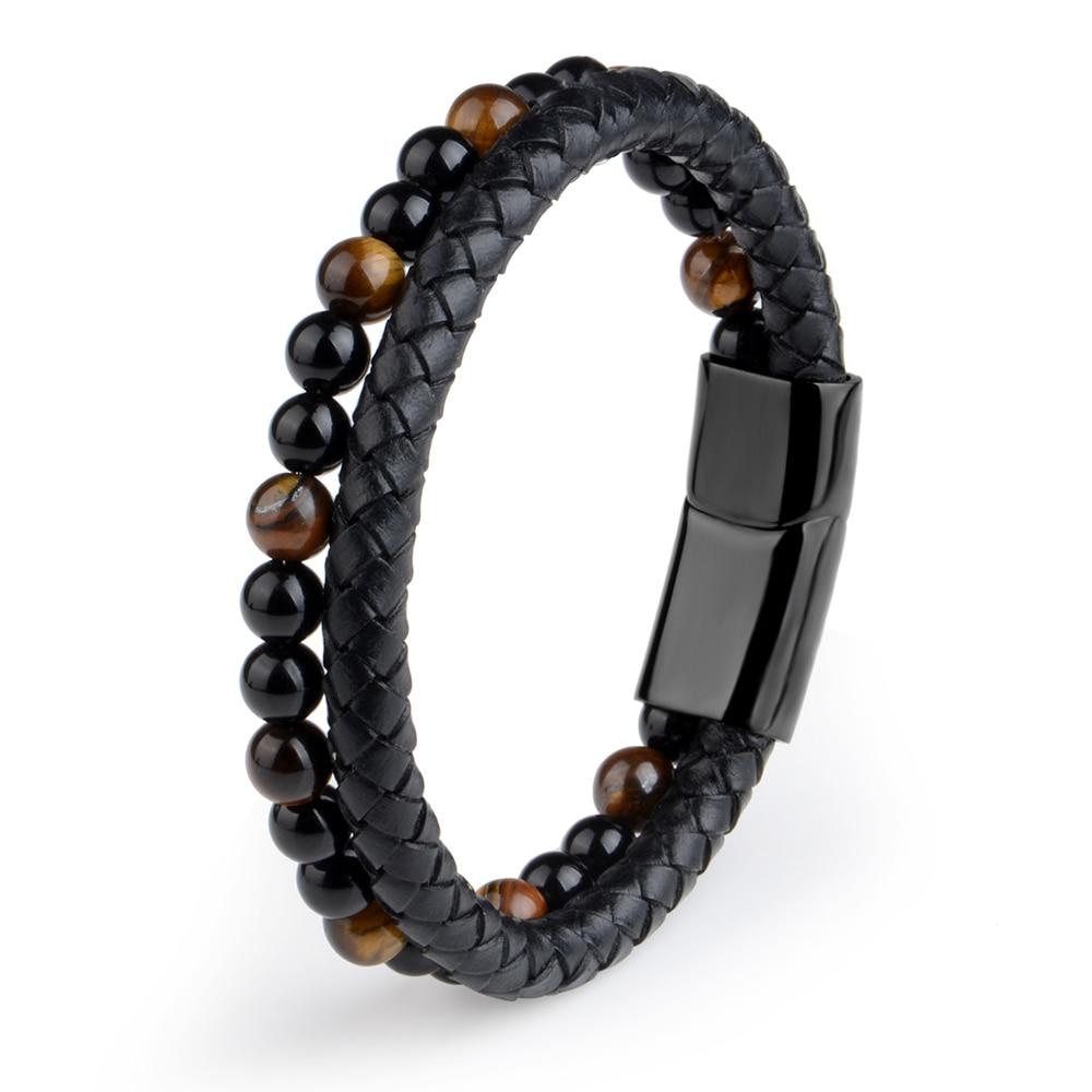 2019 Fashion Men Jewelry Natural Stone Genuine Leather Bracelet Black Stainless Steel Magnetic Clasp Tiger eye Bead Bracelet Men