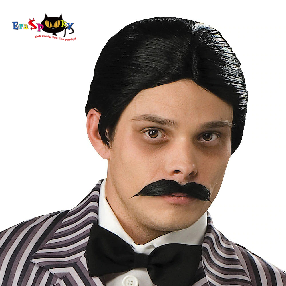 Eraspooky 80s Classic Movie The Addams Family Cosplay Men's Gothic Husband Gomez Addams Wig Beard Halloween Costume For Adult