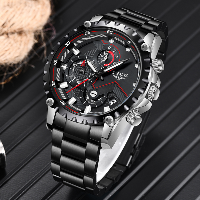 LIGE New Mens Watches Unique Design Business Watch For Men Fashion Sport Chronograph Waterproof Male Watch Relogio Masculino+Box(China)