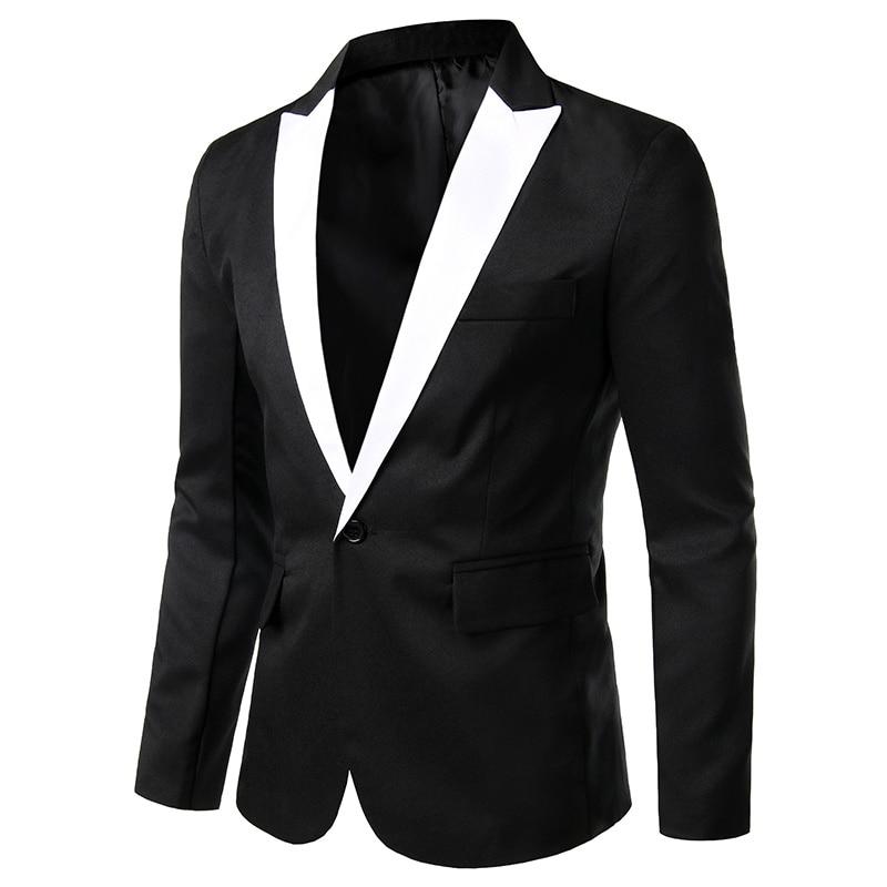 PADEGAO Men's Leisure Suits Long Sleeve Men Blazer Business Wedding Evening Party Suits Single Button Slim Fit Blazers S-2XL