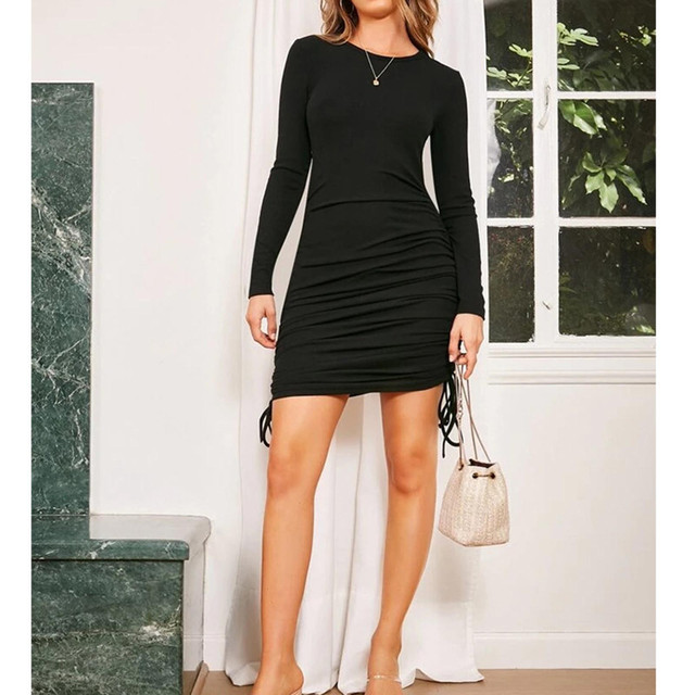 Black Women Bodycon Dress Women Drawstring long Sleeve Mini Party Dress Solid Basic Skinny Casual Dress for women 6