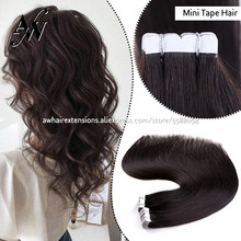 AW Mini Tape In Hair Extensions Straight 100% Real Human Hair Machine Remy Invisible Skin Weft Adhesive Tape On Hair 10pcs