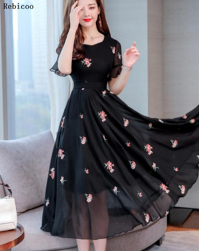High Quality Plus Size M-3XL  Summer New Arrival  Hot Sale Flower Embroidery V Collar Short Sleeve Woman Chiffon Long Dress